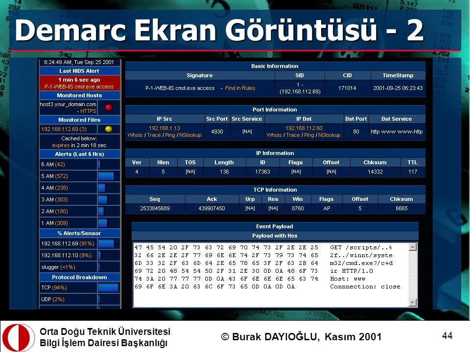Orta Doğu Teknik Üniversitesi Bilgi İşlem Dairesi Başkanlığı © Burak DAYIOĞLU, Kasım 2001 44 Demarc Ekran Görüntüsü - 2