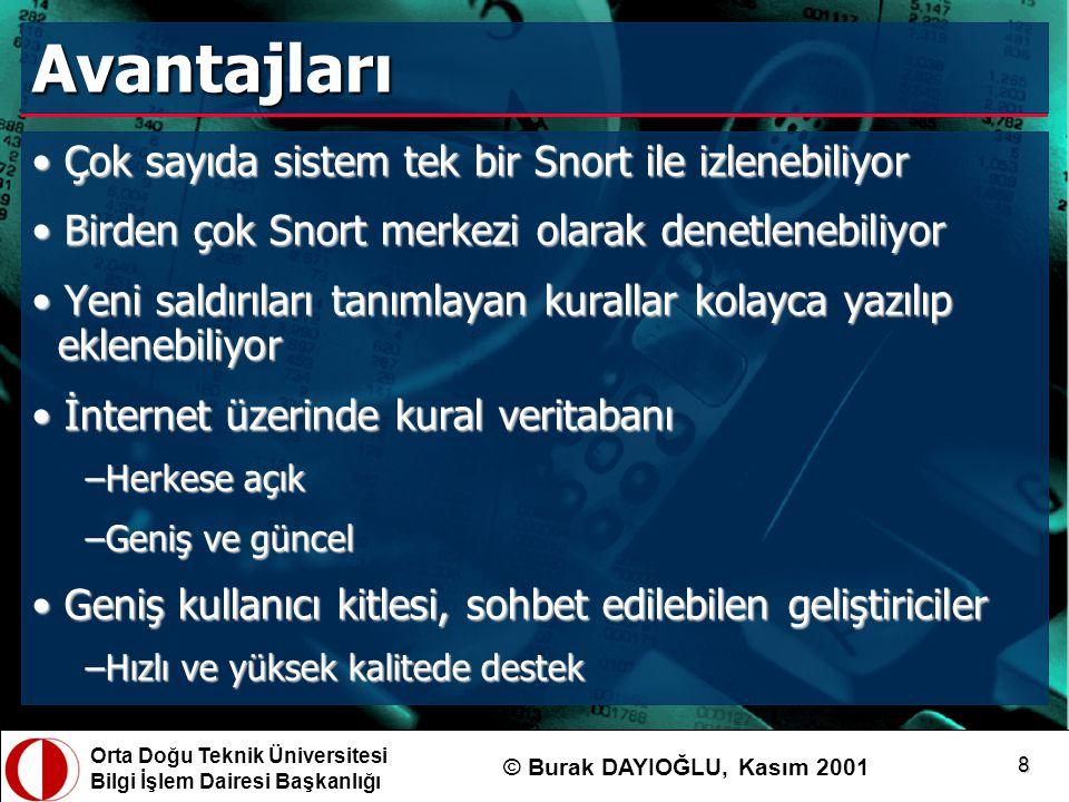 Orta Doğu Teknik Üniversitesi Bilgi İşlem Dairesi Başkanlığı © Burak DAYIOĞLU, Kasım 2001 9 Dezavantajları Şifrelenmiş iletişimler (VPN'ler, SSL, SSH vb.) izlenemiyorŞifrelenmiş iletişimler (VPN'ler, SSL, SSH vb.) izlenemiyor Yüksek hacimli trafiği izleyemeye yetişemiyorYüksek hacimli trafiği izleyemeye yetişemiyor Ağ altyapısında değişiklik/düzenleme gerektiriyorAğ altyapısında değişiklik/düzenleme gerektiriyor
