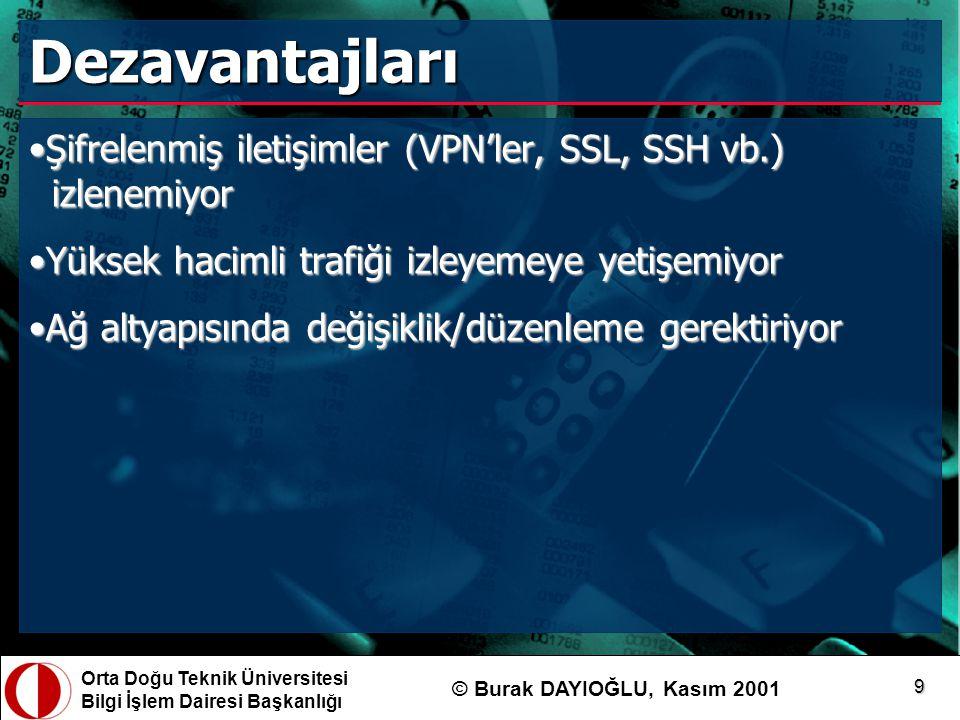 Orta Doğu Teknik Üniversitesi Bilgi İşlem Dairesi Başkanlığı © Burak DAYIOĞLU, Kasım 2001 9 Dezavantajları Şifrelenmiş iletişimler (VPN'ler, SSL, SSH