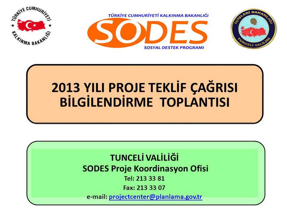 2013 YILI PROJE TEKLİF ÇAĞRISI BİLGİLENDİRME TOPLANTISI TUNCELİ VALİLİĞİ SODES Proje Koordinasyon Ofisi Tel: 213 33 81 Fax: 213 33 07 e-mail: projectc