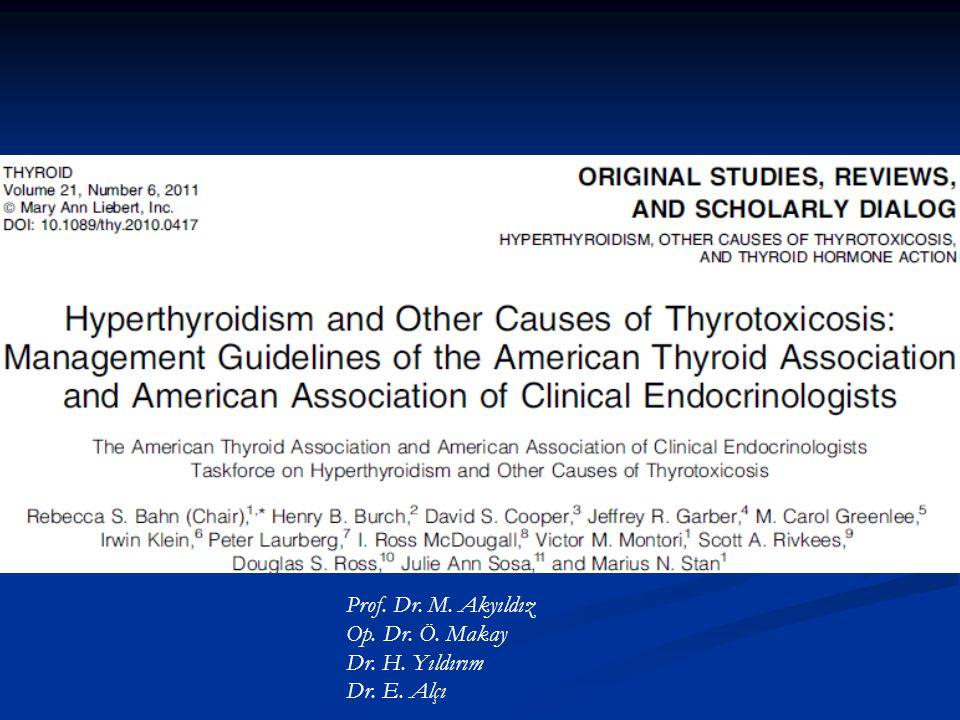Klinik Olarak ya da İnsidental Saptanan Tirotoksikoz Yönetimi Öneri-2-3: Beta-blokerler şu hastalara verilmelidir: a) Semptomatik yaşlı hastalar b) Nbz >90 veya kardiovasküler komorbidite