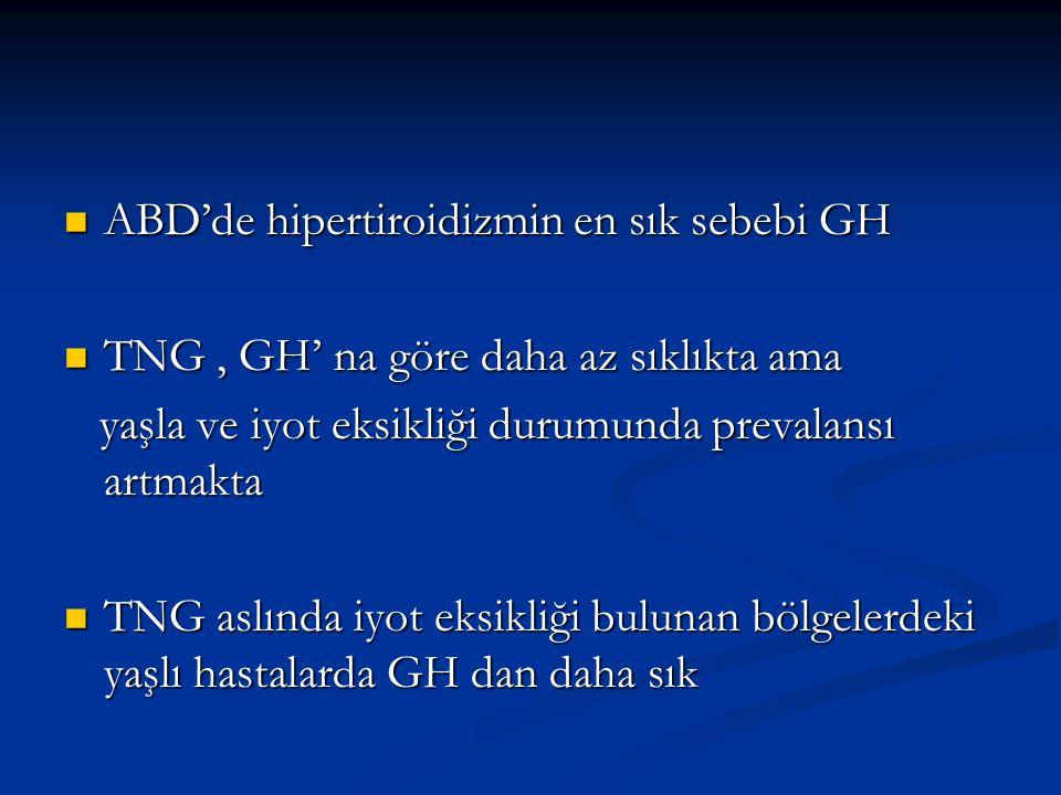 ABD'de hipertiroidizmin en sık sebebi GH ABD'de hipertiroidizmin en sık sebebi GH TNG, GH' na göre daha az sıklıkta ama TNG, GH' na göre daha az sıklı