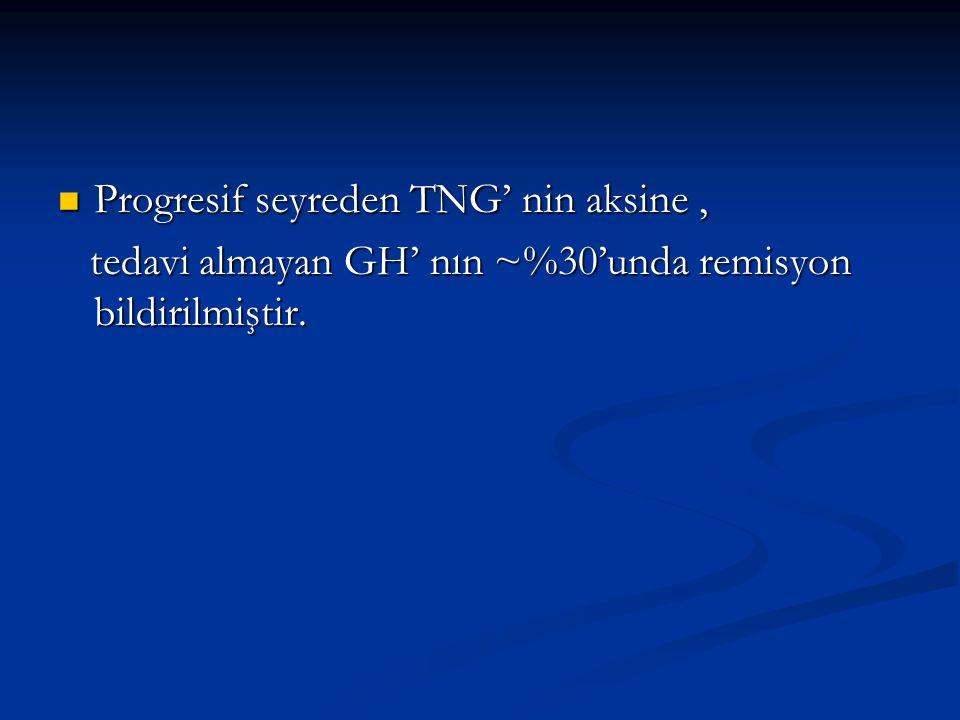 Progresif seyreden TNG' nin aksine, Progresif seyreden TNG' nin aksine, tedavi almayan GH' nın ~%30'unda remisyon bildirilmiştir. tedavi almayan GH' n
