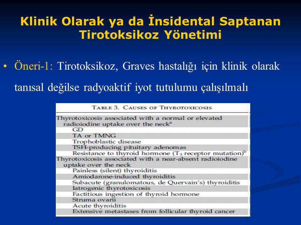 Klinik Olarak ya da İnsidental Saptanan Tirotoksikoz Yönetimi Öneri-1: Tirotoksikoz, Graves hastalığı için klinik olarak tanısal değilse radyoaktif iy