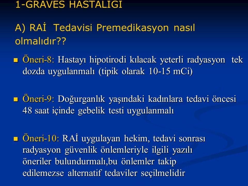 1-GRAVES HASTALIĞI A) RAİ Tedavisi Premedikasyon nasıl olmalıdır?? Öneri-8: Hastayı hipotirodi kılacak yeterli radyasyon tek dozda uygulanmalı (tipik