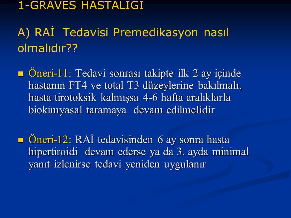 1-GRAVES HASTALIĞI A) RAİ Tedavisi Premedikasyon nasıl olmalıdır?? Öneri-11: Tedavi sonrası takipte ilk 2 ay içinde hastanın FT4 ve total T3 düzeyleri