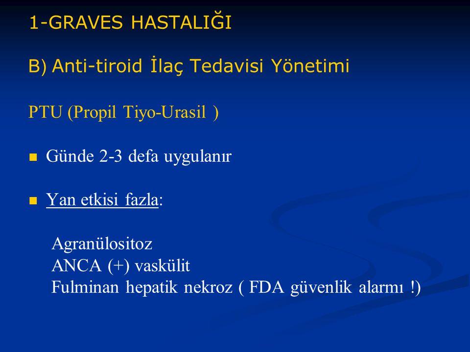 1-GRAVES HASTALIĞI B) Anti-tiroid İlaç Tedavisi Yönetimi PTU (Propil Tiyo-Urasil ) Günde 2-3 defa uygulanır Yan etkisi fazla: Agranülositoz ANCA (+) v