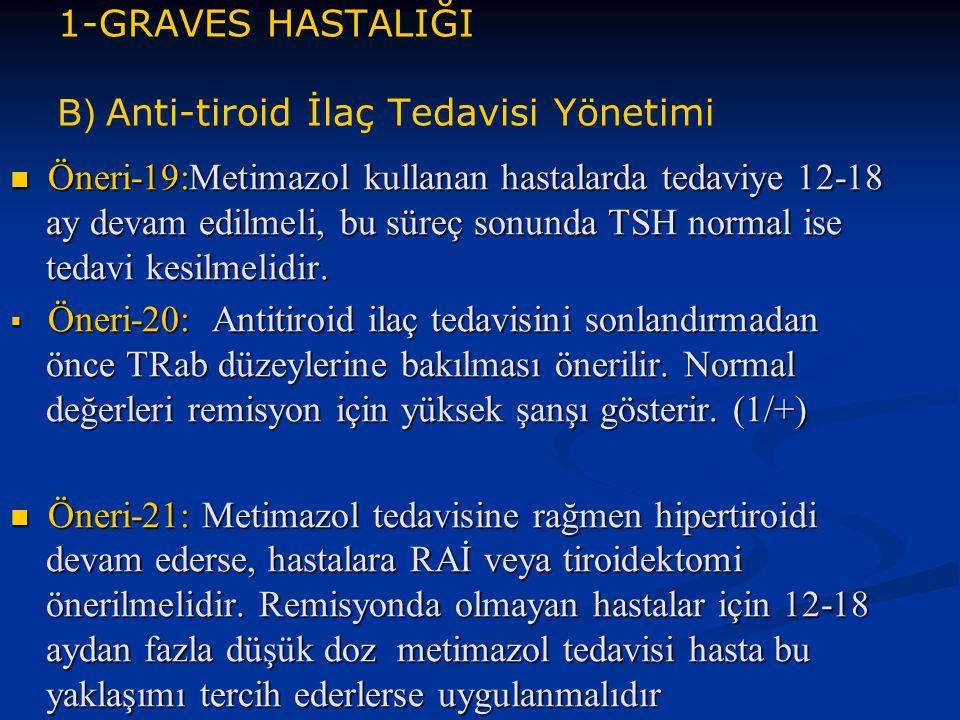 1-GRAVES HASTALIĞI B) Anti-tiroid İlaç Tedavisi Yönetimi Öneri-19:Metimazol kullanan hastalarda tedaviye 12-18 ay devam edilmeli, bu süreç sonunda TSH