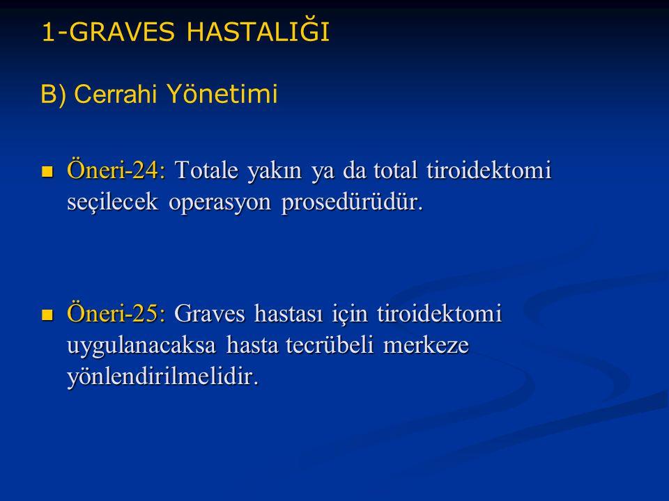 1-GRAVES HASTALIĞI B) Cerrahi Yönetimi Öneri-24: Totale yakın ya da total tiroidektomi seçilecek operasyon prosedürüdür. Öneri-24: Totale yakın ya da