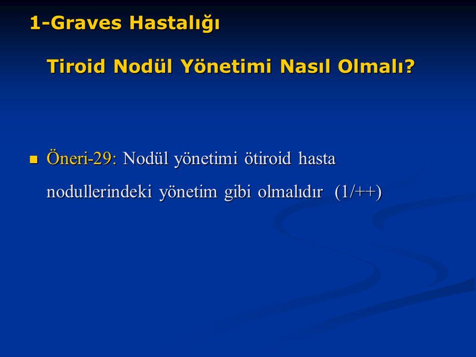 1-Graves Hastalığı Tiroid Nodül Yönetimi Nasıl Olmalı? Öneri-29: Nodül yönetimi ötiroid hasta nodullerindeki yönetim gibi olmalıdır (1/++) Öneri-29: N