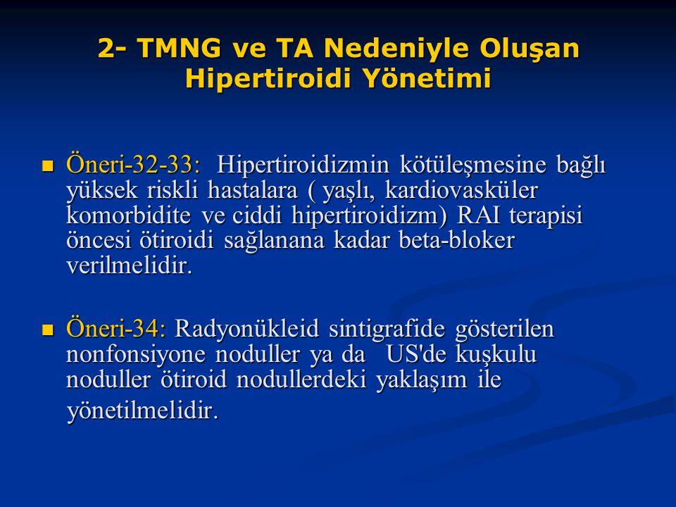 2- TMNG ve TA Nedeniyle Oluşan Hipertiroidi Yönetimi Öneri-32-33: Hipertiroidizmin kötüleşmesine bağlı yüksek riskli hastalara ( yaşlı, kardiovasküler