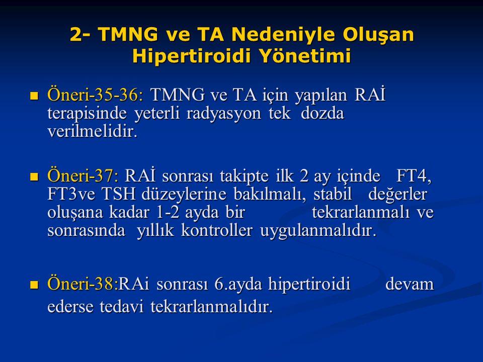 2- TMNG ve TA Nedeniyle Oluşan Hipertiroidi Yönetimi Öneri-35-36: TMNG ve TA için yapılan RAİ terapisinde yeterli radyasyon tek dozda verilmelidir. Ön