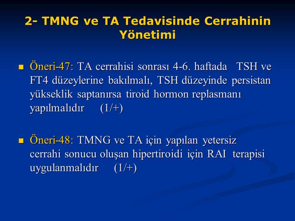 2- TMNG ve TA Tedavisinde Cerrahinin Yönetimi Öneri-47: TA cerrahisi sonrası 4-6. haftada TSH ve FT4 düzeylerine bakılmalı, TSH düzeyinde persistan yü