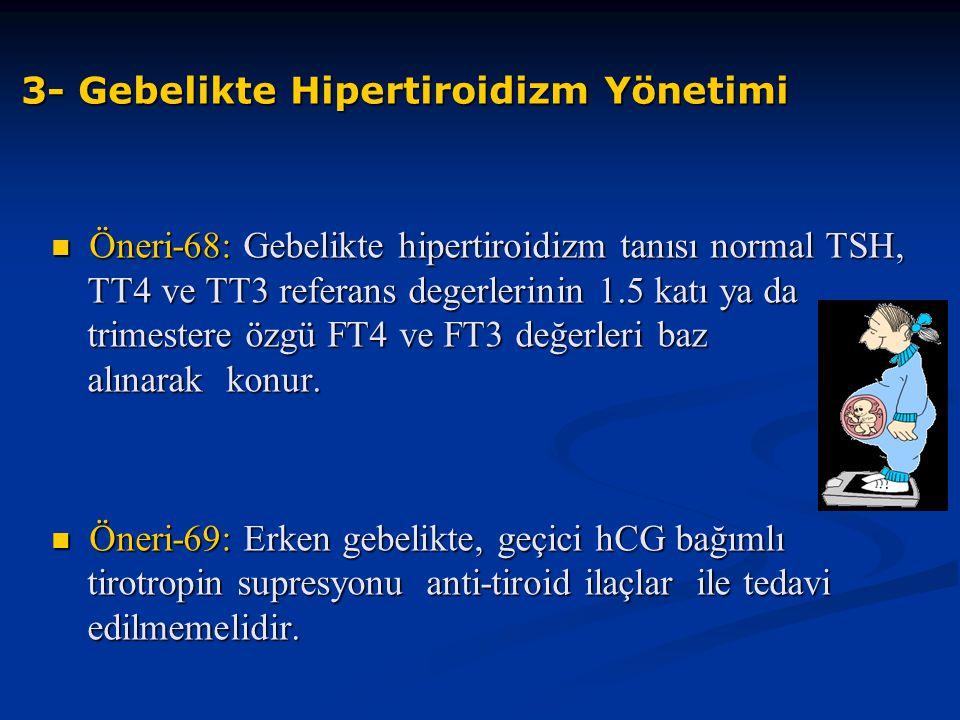 3- Gebelikte Hipertiroidizm Yönetimi Öneri-68: Gebelikte hipertiroidizm tanısı normal TSH, TT4 ve TT3 referans degerlerinin 1.5 katı ya da trimestere