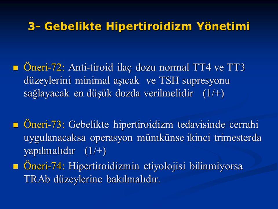 Öneri-72: Anti-tiroid ilaç dozu normal TT4 ve TT3 düzeylerini minimal aşıcak ve TSH supresyonu sağlayacak en düşük dozda verilmelidir (1/+) Öneri-72: