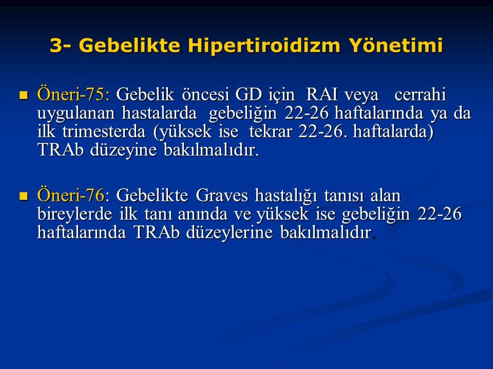 3- Gebelikte Hipertiroidizm Yönetimi Öneri-75: Gebelik öncesi GD için RAI veya cerrahi uygulanan hastalarda gebeliğin 22-26 haftalarında ya da ilk tri