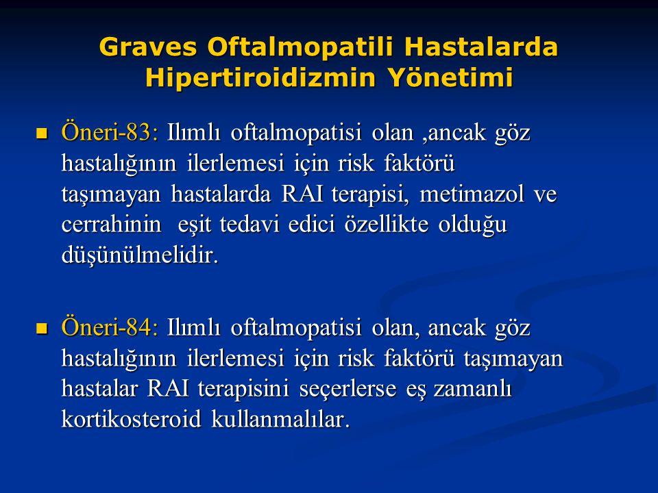 Graves Oftalmopatili Hastalarda Hipertiroidizmin Yönetimi Öneri-83: Ilımlı oftalmopatisi olan,ancak göz hastalığının ilerlemesi için risk faktörü taşı