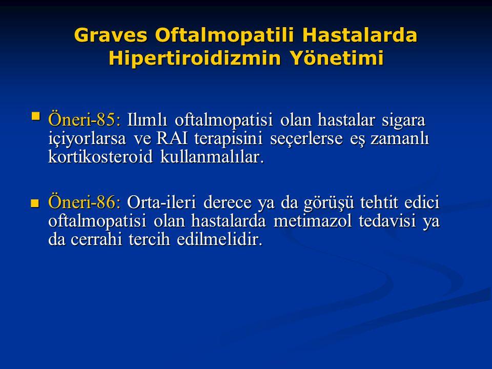 Graves Oftalmopatili Hastalarda Hipertiroidizmin Yönetimi  Öneri-85: Ilımlı oftalmopatisi olan hastalar sigara içiyorlarsa ve RAI terapisini seçerler