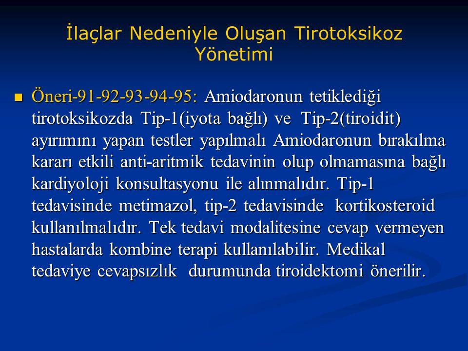 İlaçlar Nedeniyle Oluşan Tirotoksikoz Yönetimi Öneri-91-92-93-94-95: Amiodaronun tetiklediği tirotoksikozda Tip-1(iyota bağlı) ve Tip-2(tiroidit) ayır