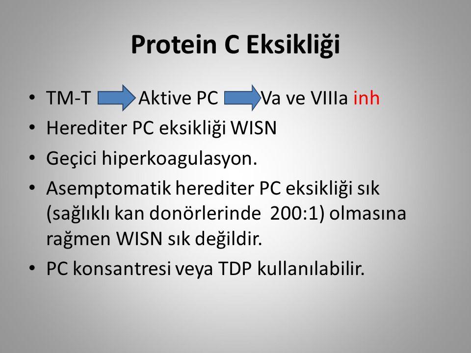 Protein C Eksikliği TM-T Aktive PC Va ve VIIIa inh Herediter PC eksikliği WISN Geçici hiperkoagulasyon. Asemptomatik herediter PC eksikliği sık (sağlı