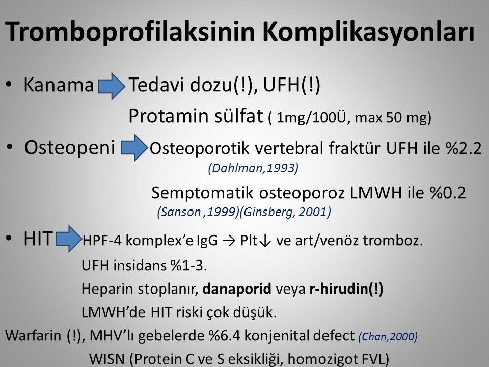 Tromboprofilaksinin Komplikasyonları Kanama Tedavi dozu(!), UFH(!) Protamin sülfat ( 1mg/100Ü, max 50 mg) Osteopeni Osteoporotik vertebral fraktür UFH