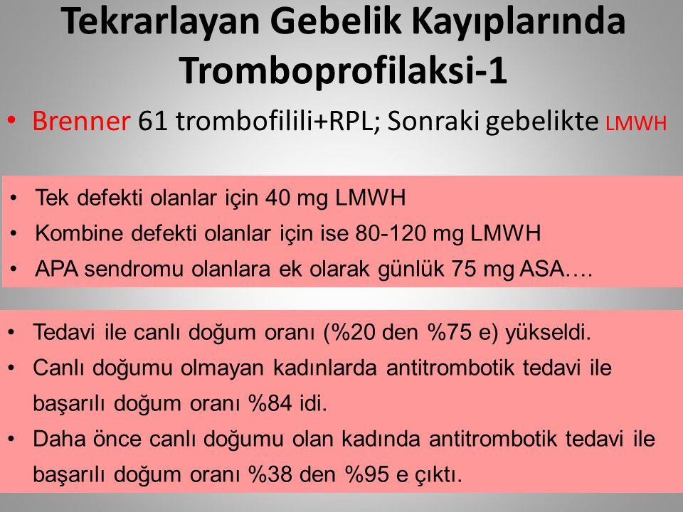 Tekrarlayan Gebelik Kayıplarında Tromboprofilaksi-1 Brenner 61 trombofilili+RPL; Sonraki gebelikte LMWH Tek defekti olanlar için 40 mg LMWH Kombine de