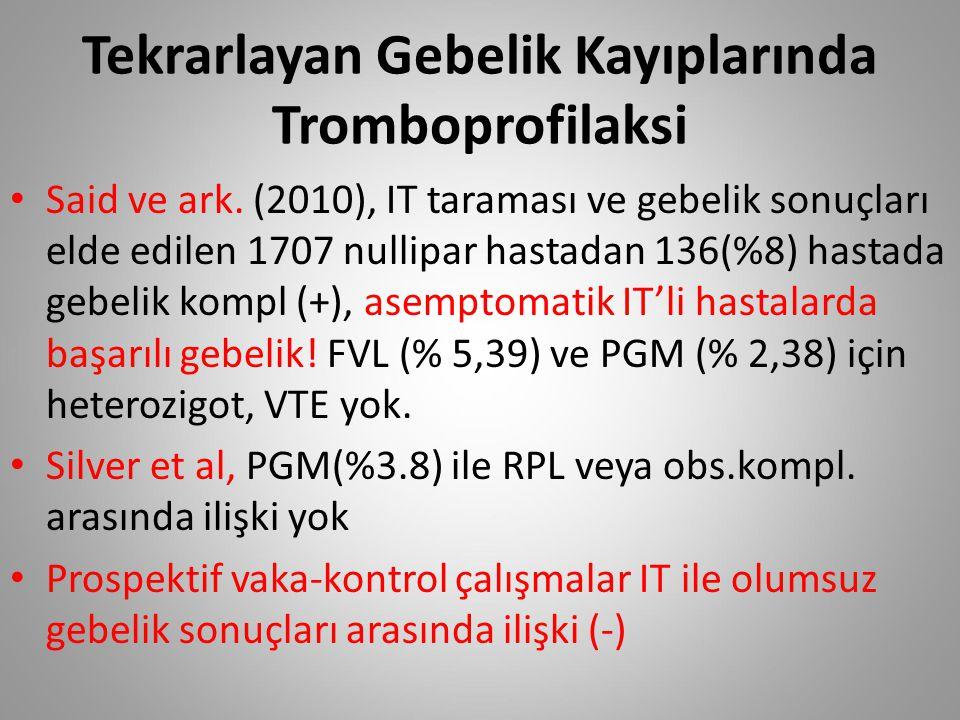 Tekrarlayan Gebelik Kayıplarında Tromboprofilaksi Said ve ark. (2010), IT taraması ve gebelik sonuçları elde edilen 1707 nullipar hastadan 136(%8) has