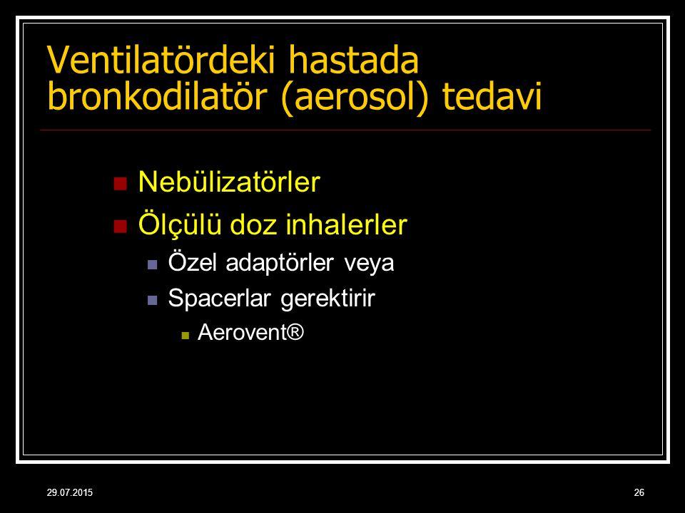 29.07.201526 Nebülizatörler Ölçülü doz inhalerler Özel adaptörler veya Spacerlar gerektirir Aerovent® Ventilatördeki hastada bronkodilatör (aerosol) t