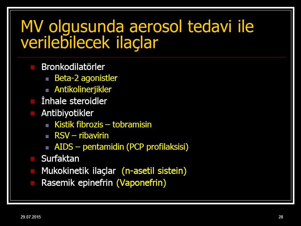 29.07.201528 MV olgusunda aerosol tedavi ile verilebilecek ilaçlar Bronkodilatörler Beta-2 agonistler Antikolinerjikler İnhale steroidler Antibiyotikl