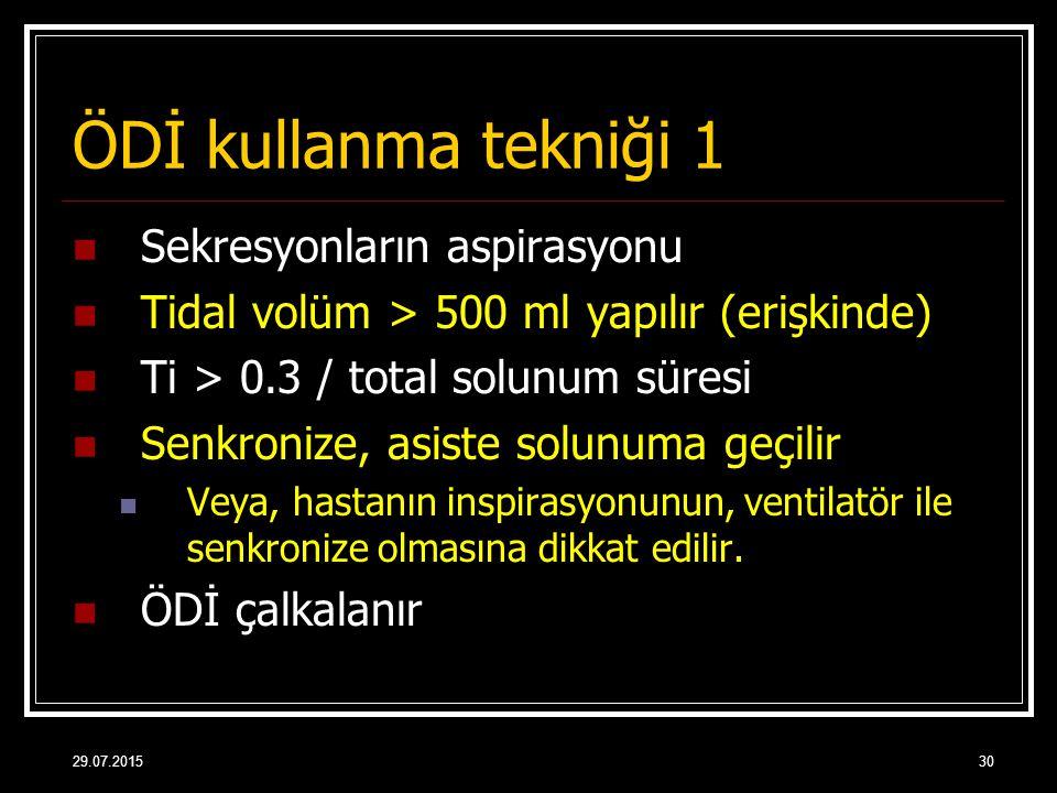 29.07.201530 ÖDİ kullanma tekniği 1 Sekresyonların aspirasyonu Tidal volüm > 500 ml yapılır (erişkinde) Ti > 0.3 / total solunum süresi Senkronize, as