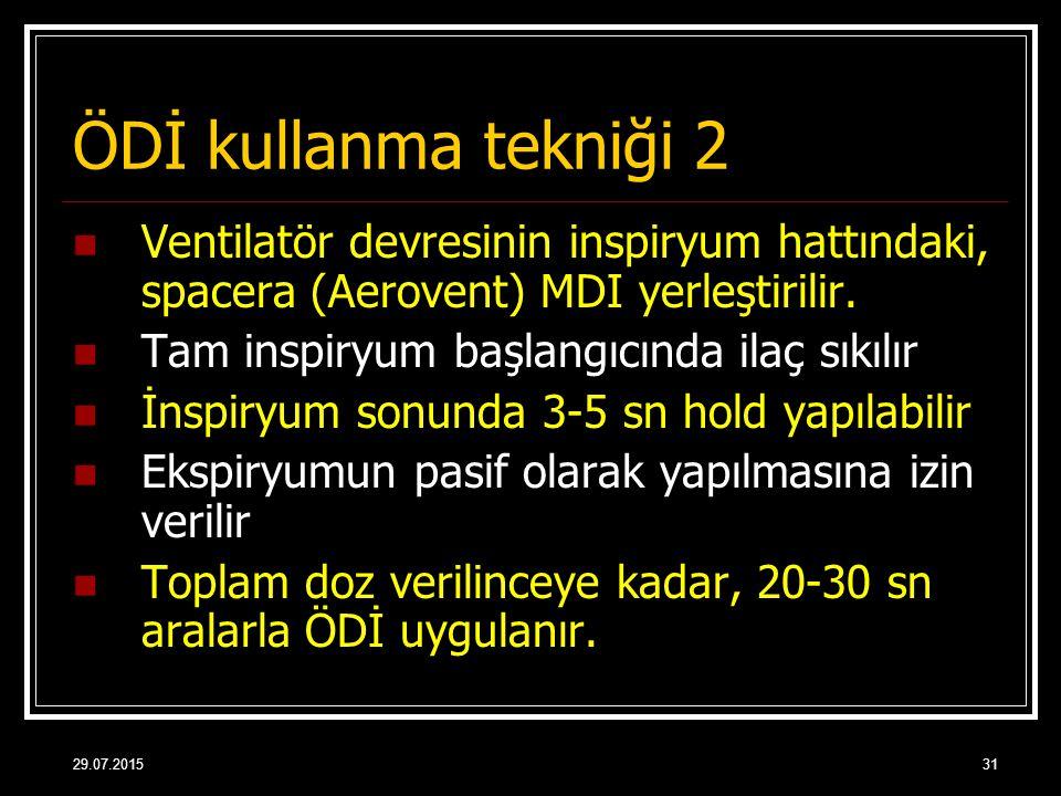 29.07.201531 ÖDİ kullanma tekniği 2 Ventilatör devresinin inspiryum hattındaki, spacera (Aerovent) MDI yerleştirilir. Tam inspiryum başlangıcında ilaç
