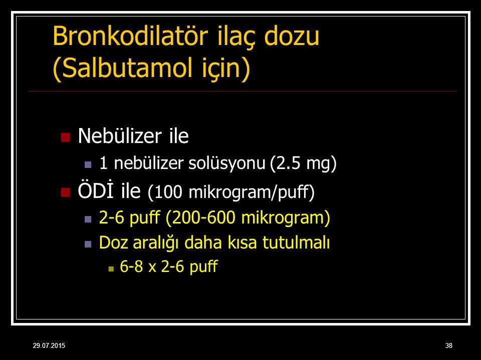 29.07.201538 Bronkodilatör ilaç dozu (Salbutamol için) Nebülizer ile 1 nebülizer solüsyonu (2.5 mg) ÖDİ ile (100 mikrogram/puff) 2-6 puff (200-600 mik
