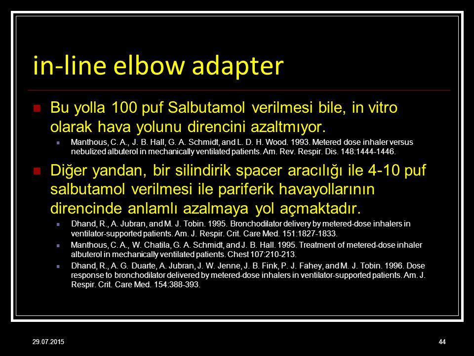 in-line elbow adapter Bu yolla 100 puf Salbutamol verilmesi bile, in vitro olarak hava yolunu direncini azaltmıyor. Manthous, C. A., J. B. Hall, G. A.
