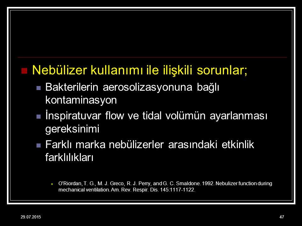 Nebülizer kullanımı ile ilişkili sorunlar; Bakterilerin aerosolizasyonuna bağlı kontaminasyon İnspiratuvar flow ve tidal volümün ayarlanması gereksini
