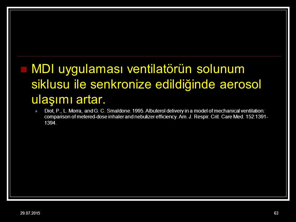 MDI uygulaması ventilatörün solunum siklusu ile senkronize edildiğinde aerosol ulaşımı artar. Diot, P., L. Morra, and G. C. Smaldone. 1995. Albuterol