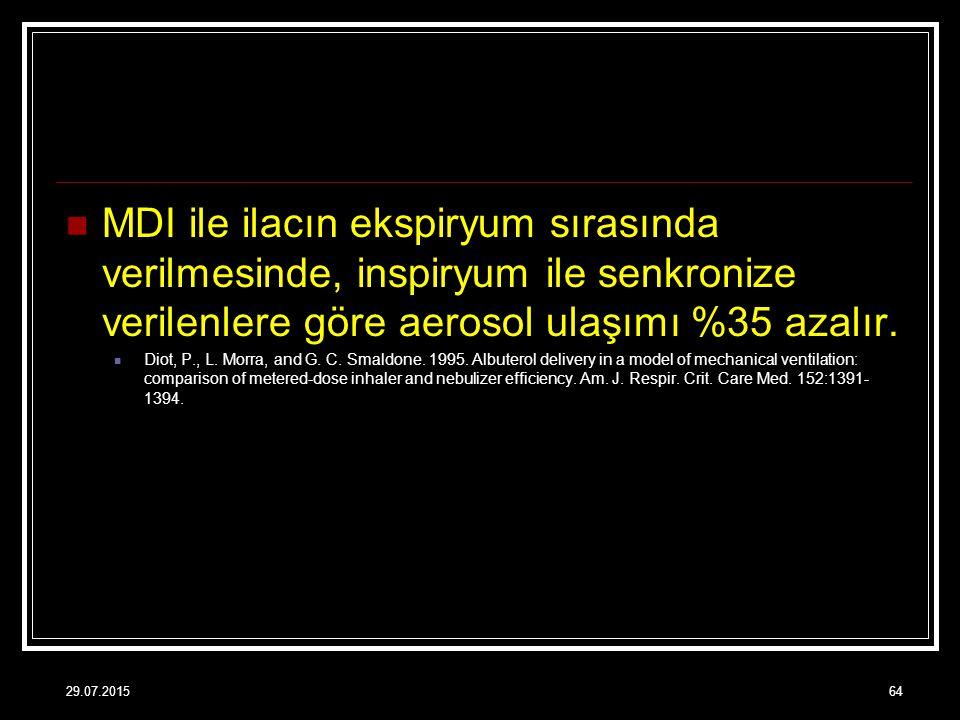 MDI ile ilacın ekspiryum sırasında verilmesinde, inspiryum ile senkronize verilenlere göre aerosol ulaşımı %35 azalır. Diot, P., L. Morra, and G. C. S