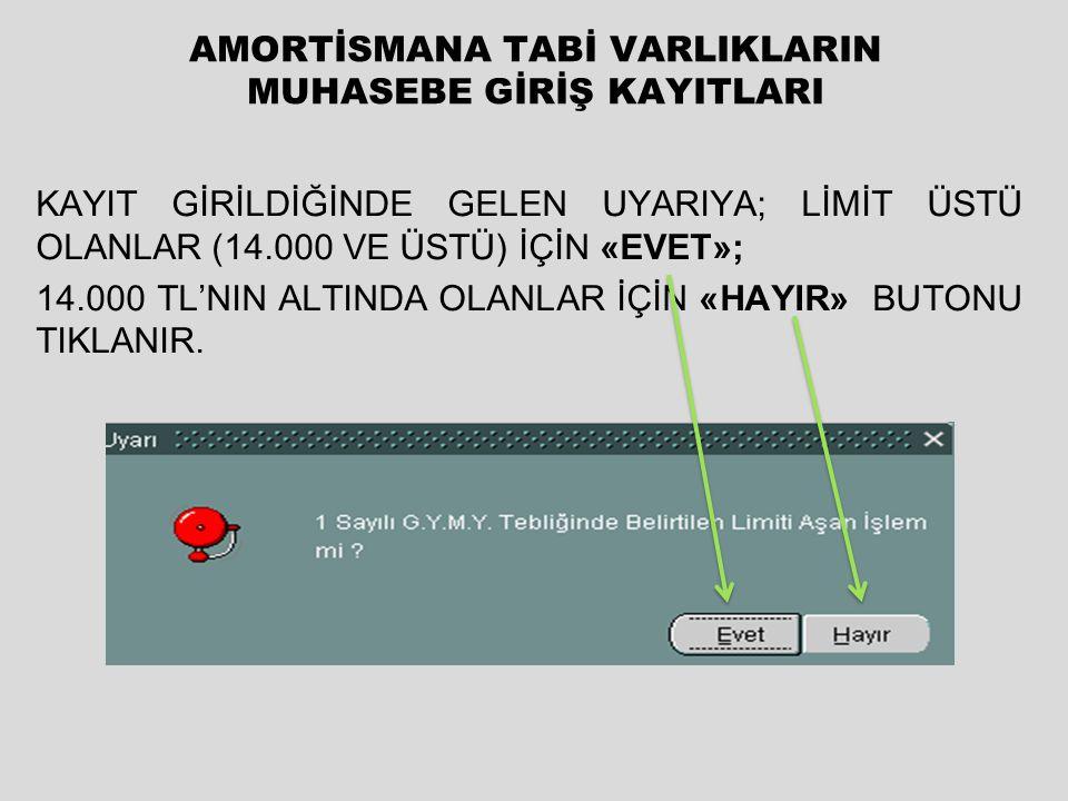 ÖRNEK 1: Muhasebat Genel Müdürlüğü 42.000 TL değerinde üç adet ipek halı almıştır. (Adedi:14.000TL) Demirbaş kaydı girildiğinde gelen uyarıya, tutar l
