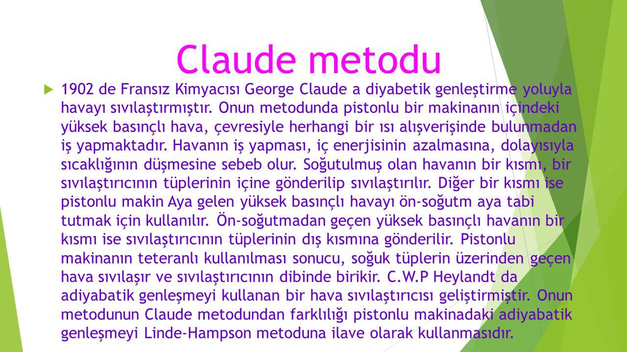 Claude metodu  1902 de Fransız Kimyacısı George Claude a diyabetik genleştirme yoluyla havayı sıvılaştırmıştır. Onun metodunda pistonlu bir makinanın