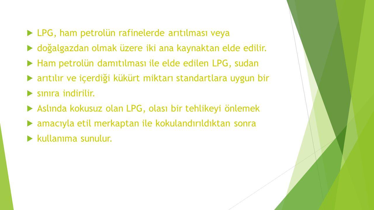  LPG, ham petrolün rafinelerde arıtılması veya  doğalgazdan olmak üzere iki ana kaynaktan elde edilir.  Ham petrolün damıtılması ile elde edilen LP