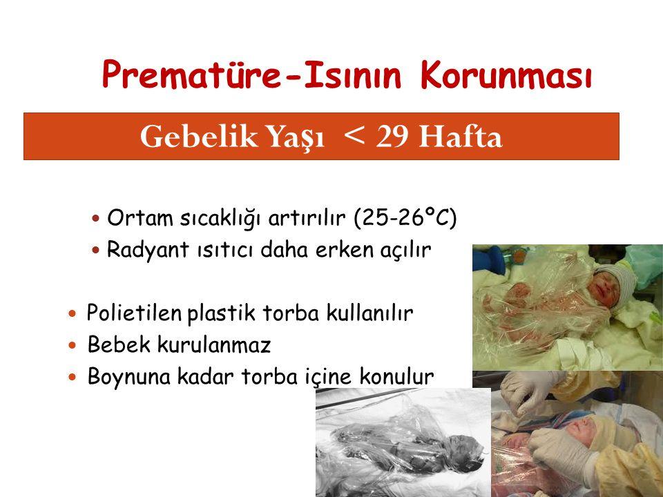 Prematüre-Isının Korunması 16 Ortam sıcaklığı artırılır (25-26ºC) Radyant ısıtıcı daha erken açılır Polietilen plastik torba kullanılır Bebek kurulanmaz Boynuna kadar torba içine konulur Gebelik Ya ş ı < 29 Hafta