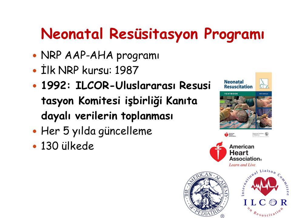 Neonatal Resüsitasyon Programı NRP AAP-AHA programı İlk NRP kursu: 1987 1992: ILCOR-Uluslararası Resusi tasyon Komitesi işbirliği Kanıta dayalı verilerin toplanması Her 5 yılda güncelleme 130 ülkede