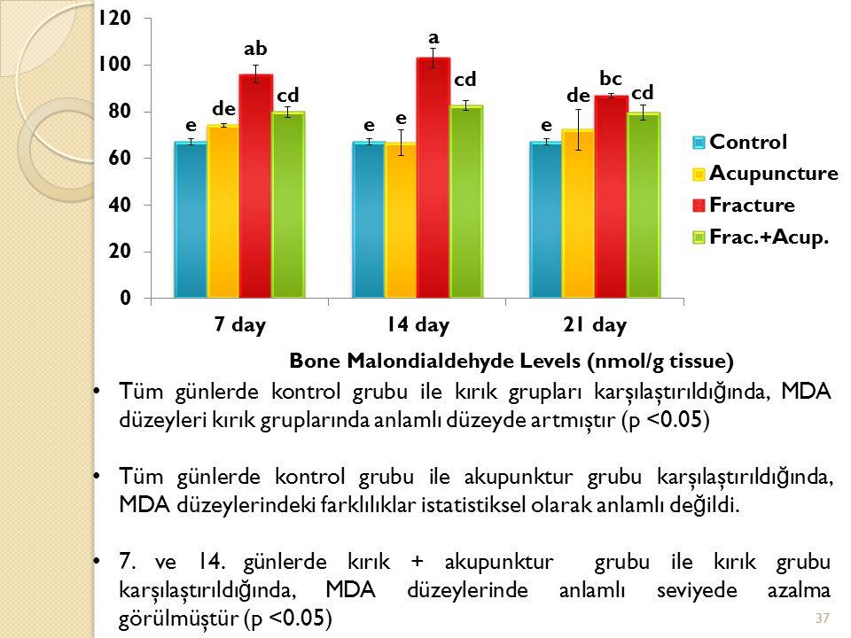 Tüm günlerde kontrol grubu ile kırık grupları karşılaştırıldı ğ ında, MDA düzeyleri kırık gruplarında anlamlı düzeyde artmıştır (p <0.05) Tüm günlerde