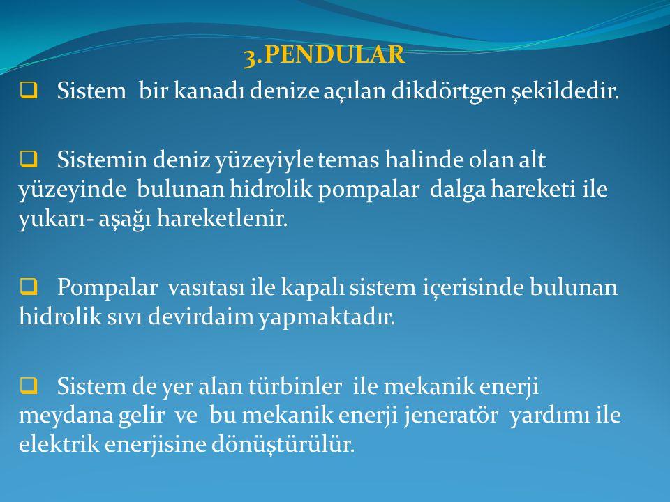 3.PENDULAR  Sistem bir kanadı denize açılan dikdörtgen şekildedir.