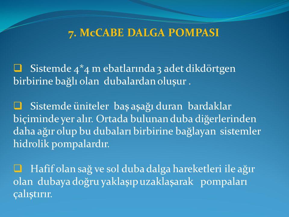 7. McCABE DALGA POMPASI  Sistemde 4*4 m ebatlarında 3 adet dikdörtgen birbirine bağlı olan dubalardan oluşur.  Sistemde üniteler baş aşağı duran bar