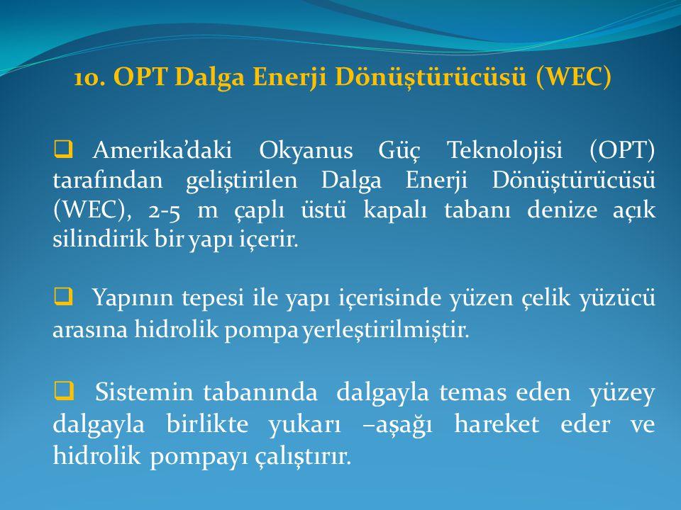 10. OPT Dalga Enerji Dönüştürücüsü (WEC)  Amerika'daki Okyanus Güç Teknolojisi (OPT) tarafından geliştirilen Dalga Enerji Dönüştürücüsü (WE