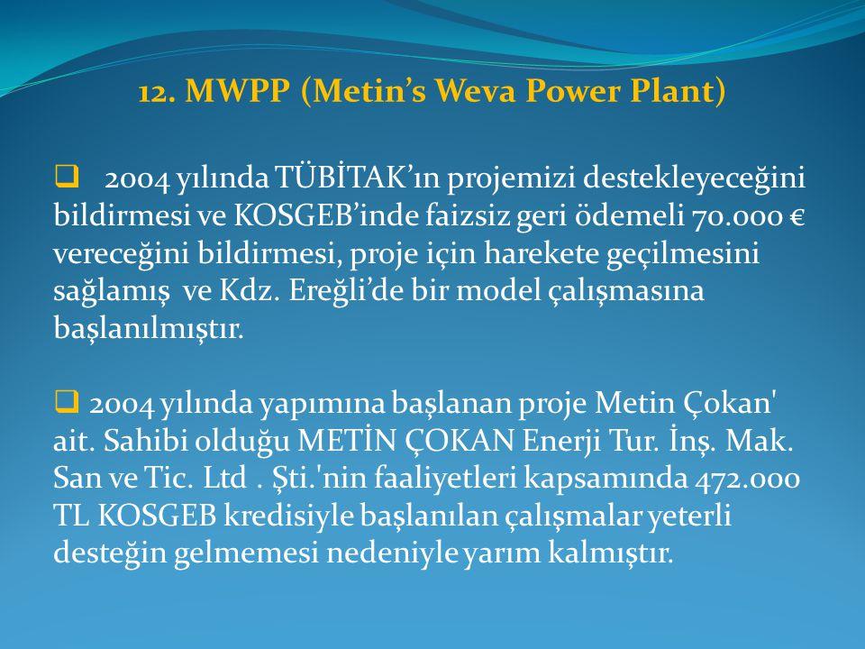 12. MWPP (Metin's Weva Power Plant)  2004 yılında TÜBİTAK'ın projemizi destekleyeceğini bildirmesi ve KOSGEB'inde faizsiz geri ödemeli 70.000 € verec