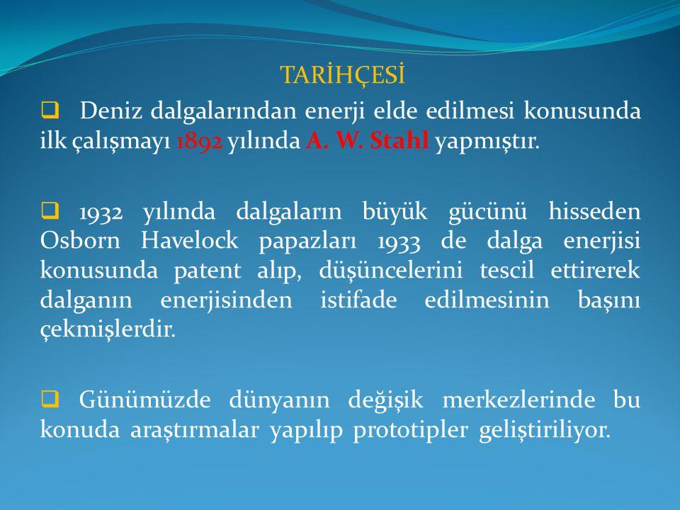 ÜLKEMİZDE ENERJİ  Çeşitli kaynaklarda Türkiye'nin dalga enerjisi potansiyeli yıllık yaklaşık 140 milyar kW (kilo Watt) saat olarak öngörülüyor.