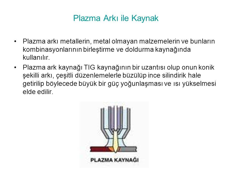 Plazma Arkı ile Kaynak Plazma arkı metallerin, metal olmayan malzemelerin ve bunların kombinasyonlarının birleştirme ve doldurma kaynağında kullanılır