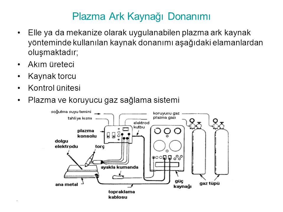 Plazma Ark Kaynağı Donanımı Elle ya da mekanize olarak uygulanabilen plazma ark kaynak yönteminde kullanılan kaynak donanımı aşağıdaki elamanlardan ol
