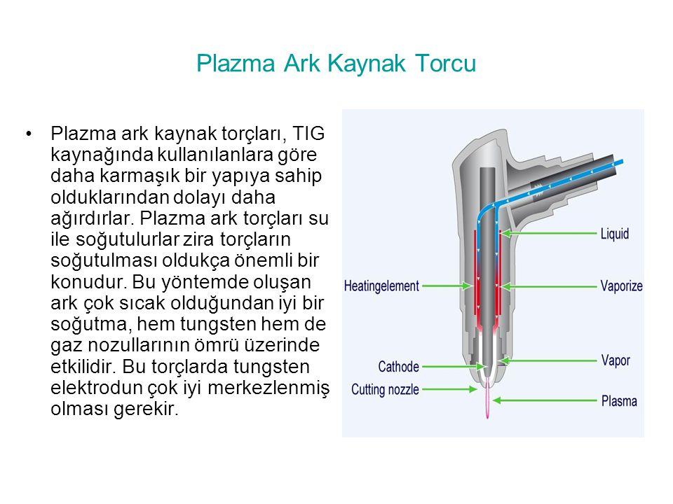 Plazma Ark Kaynak Torcu Plazma ark kaynak torçları, TIG kaynağında kullanılanlara göre daha karmaşık bir yapıya sahip olduklarından dolayı daha ağırdı
